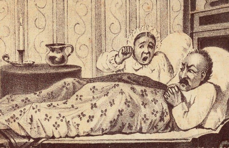 W XIX wieku żony nie miały co liczyć na pieszczoty w łóżku (źródło: domena publiczna).