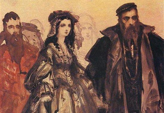 Zygmunt August prezentuje na dworze Barbarę Radziwiłłównę. Akwarela Jana Matejki (źródło: domena publiczna)