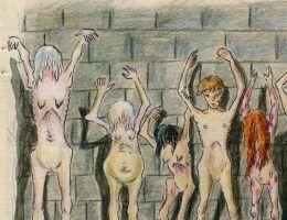 Któż wie, ile więźniarek gułagu zginęło przygniecione przez potężne syberyjskie drzewa? (fragment ilustracji pochodzącej z książki Eufrozyny Antonowny Kersnowskiej, która spędziła w Gułagu 12 lat, a swoje wspomnienia spisała i zilustrowała).