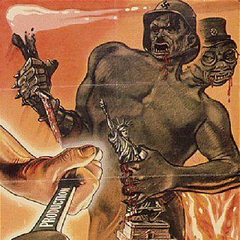 W.P. Hitler wykazał się dużą determinacją, by walczyć z tym niemieckim potworem (rys. amerykański plakat propagandowy, domena publiczna).