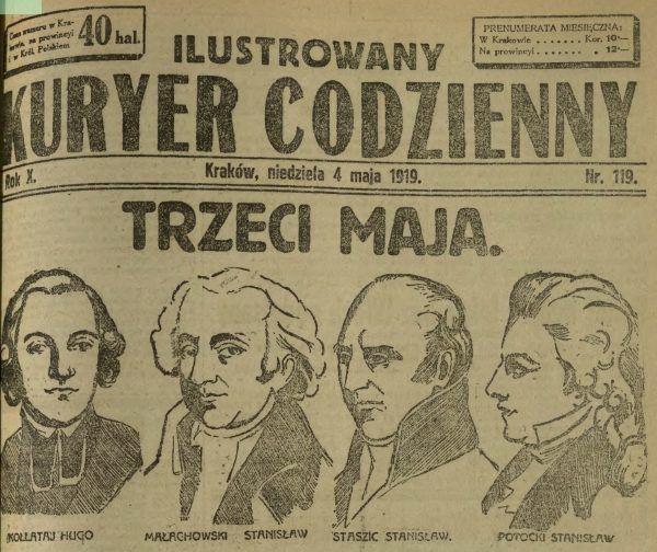 """Pierwsza rocznica 3 maja w wolnej Polsce na okładce """"Ilustrowanego Kuryera Codziennego""""."""