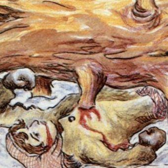Któż wie, ile więźniarek gułagu zginęło przygniecione przez potężne syberyjskie drzewa? (fragment ilustracji pochodzącej z książki Eufrozinji Antonowny Kersnowskiej, która spędziła w Gułagu 12 lat, a swoje wspomnienia spisała i zilustrowała).