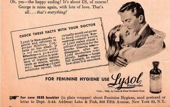 W dobie wielkiego kryzysu lysol był najpopularniejszym i najszerzej promowanym preparatem przeciwciążowym w USA. To właśnie stamtąd trafił on nad Wisłę (źródło: domena publiczna).