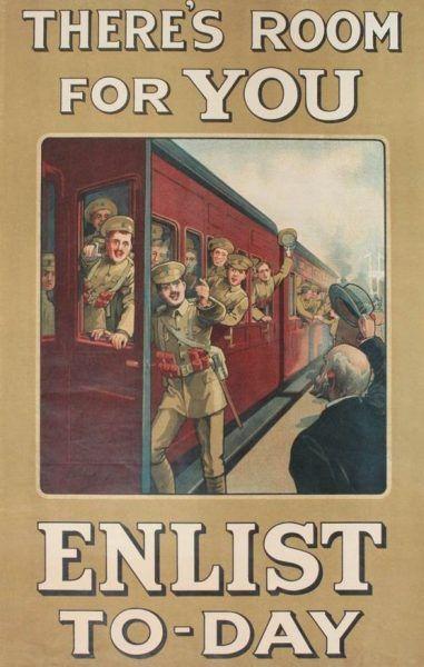 Plakat rekrutacyjny z I wojny światowej (domena publiczna).