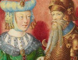 Przez długi czas uważano, że druga żona Chrobrego była córką Gejzy. Na ilustracji: książę Gejza ze swoją żoną Karoldą (domena publiczna).