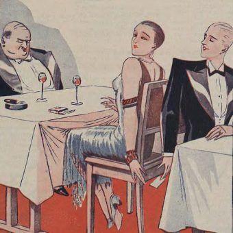 Przedwojenna prasa przestrzegała, że mąż musi być czujny w każdym momencie. Bo inaczej skończy się tak jak na tym obrazku (źródło: domena publiczna).