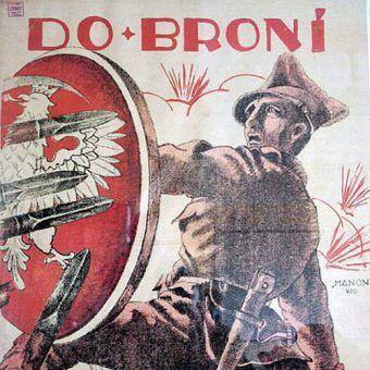 Takie plakaty namawiały Polaków do wstępowania do wojska i walki z bolszewickim najeźdźcą (il. domena publiczna).
