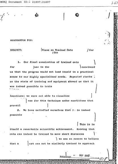 Odtajniony w latach 80. dokument CIA dotyczący wykorzystania specjalnie tresowanych (źródło: domena publiczna).