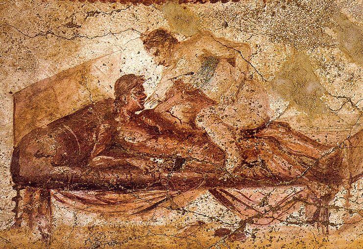 Zdaniem Kolumella niewolnicy z miast byli przyzwyczajeni do hazardu, teatrów i domów publicznych. Na ilustracji fresk z domu publicznego w Pompejach (źródło: domena publiczna).