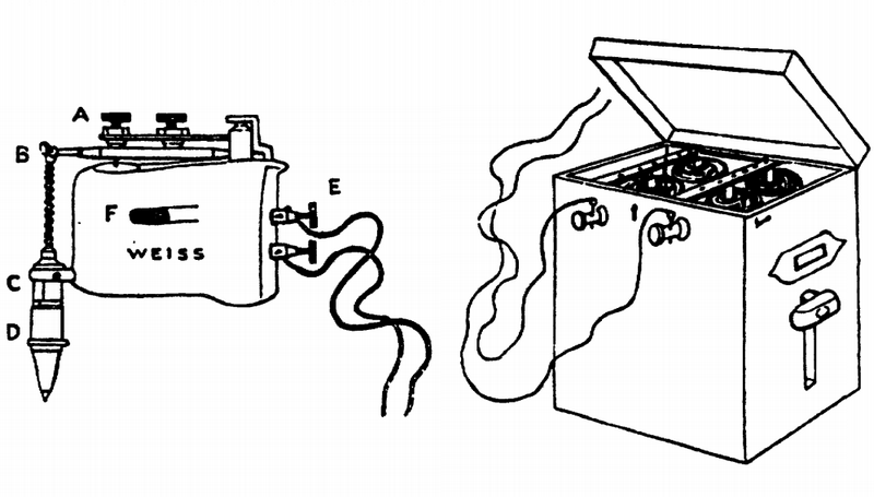 "Słynny ""Percateur"" doktora Joseph Mortimera Granville'a. Po lewej wibrator, po prawej bateria. Rysunek z 1883 r. (źródło: domena publiczna)."