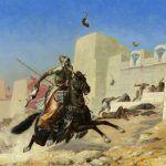 Podobno właśnie dzięki kotom Kambyzes II pokonał Egipcjan. Tak bitwę pod Peluzjum przedstawił na swoim obrazie XIX-wieczny francuski malarz Paul Marie Lenoir (źródło: domena publiczna).