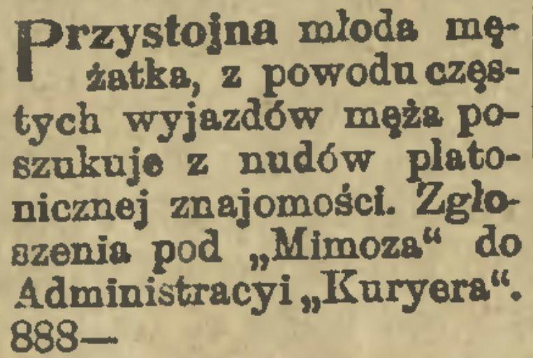 """""""Przystojna młoda mężatka..."""". Tego typu anonse w przedwojennej Polsce nie były niczym nadzwyczajnym (źródło: domena publiczna)."""