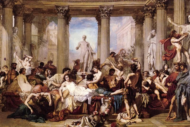 Trwające nawet tydzień Saturnalia niosły ze sobą prawdziwy wybuch swobód okraszonych rozrywkami. Na ilustracji XIX- wieczny obraz Thomasa Couture'a (źródło: domena publiczna).