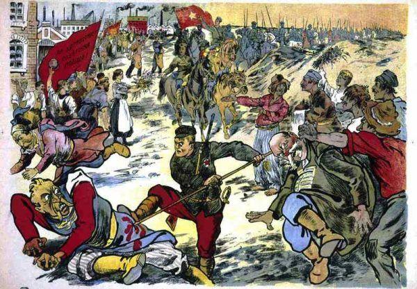 """Bolszewicki plakat z 1920 roku zachęcający do rozprawy z polskimi """"panami"""". Gdyby kpiny Lloyda George'a się ziściły, tak wyglądałaby polska przyszłość (źródło: domena publiczna)."""