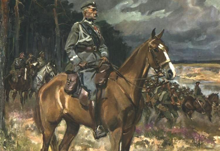 Davidowi Lloydowi George'owi bardzo zależało na tym, aby Józef Piłsudski przestał być głównodowodzącym Wojska Polskiego. Na ilustracji obraz Wojciecha Kossaka (źródło: domena publiczna).