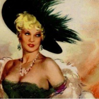 Zmysłowa Mae West na plakacie flmowym.