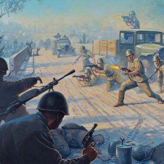 "Atak na Majkop. Fragment okładki książki ""Behind Soviet Lines"" Davida R. Higginsa (seria Osprey)."