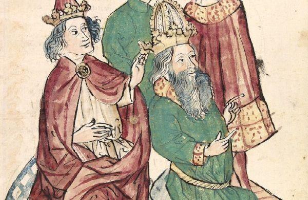 Papież Grzegorz V (a właściwie: Brunon z Karyntii) w towarzystwie cesarza Ottona III (źródło: domena publiczna).