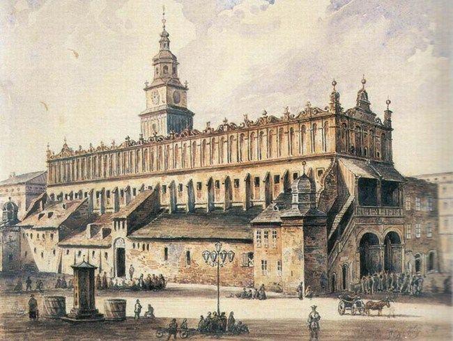 Krakowskie Sukiennice na obrazie A. Gryglewskiego z 1869 r. Budynek był jedną z inspiracji dla twórców warszawskiego Pałacu Kultury i Nauki (źródło: domena publiczna).