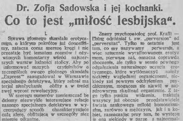 """Już 23 listopada 1923 r. łódzki """"Express Wieczorny Ilustrowany"""" poświęcił sprawie Sadowskiej obszerny artykuł (źródło: domena publiczna)."""
