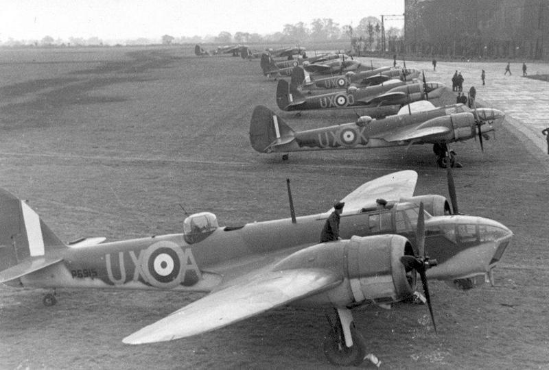 Bombowce Bristol Blenheim. Właśnie ich osłonę 2 lipca 1941 r. stanowiły samoloty Dywizjonu 308 (źródło: domena publiczna).