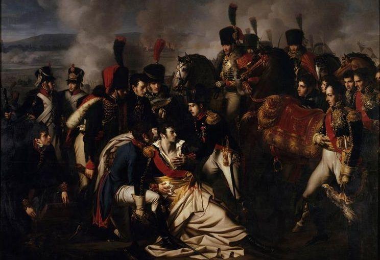 Bitwa pod Essling kosztowała życie wielu utalentowanych oficerów armii Napoleona. Wśród nich znalazł się również książę Jean Lannes. Na ilustracji obraz Alberta Paula Bourgeoisa (źródło: domena publiczna).