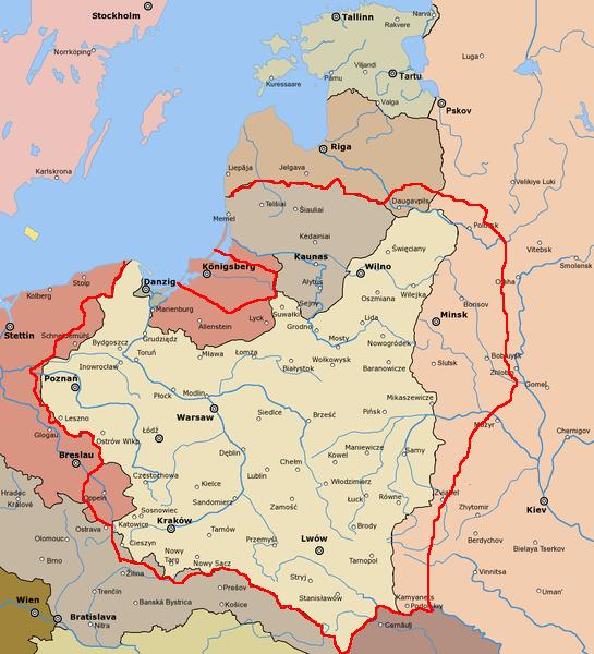 Granice Polski według propozycji Romana Dmowskiego przedstawionej na na konferencji pokojowej w Paryżu w 1919 roku (rys. Halibutt & Mix321, CC BY-SA 3.0).