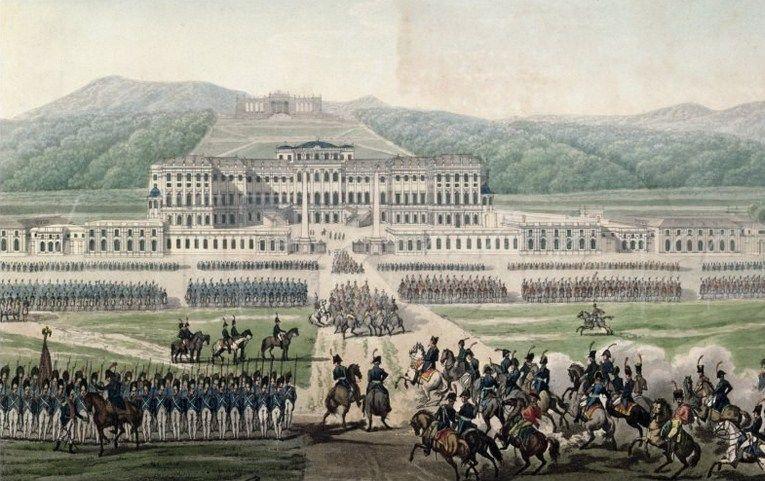 Początkowo Austriacy nie mieli powodów do zadowolenia. Już 13 maja 1809 r. padł Wiedeń. Na ilustracji Napoleon przybywa do pałacu Schoenbrunn - letniej rezydencji Habsburgów (źródło: domena publiczna).
