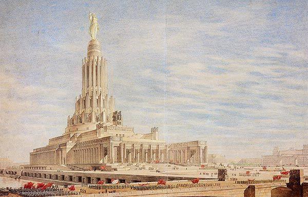 """Ostatecznie, spośród głoszonych projektów wybrano ten autorstwa Borysa Jofana. Co prawda był on przeciętny i nie wyróżniał się niczym szczególnym, ale za to na szczycie zwieńczał go """"pomnik wyzwolonego proletariusza"""" (źródło: domena publiczna)."""