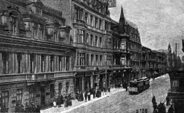 Ulica Piotrkowska w Łodzi na zdjęciu z 1915 r. Była ona miejscem pracy zapewne niejednej z 650 prostytutek odizolowanych w szpitalu, w którym pracowała Maria Grzywo-Dąbrowska (źródło: domena publiczna).