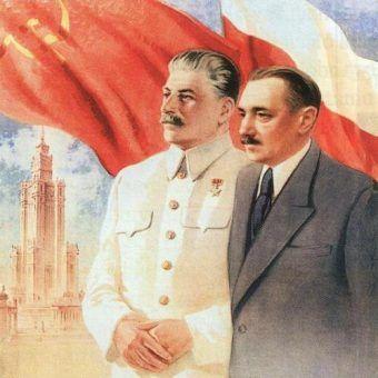 Bierut i Stalin z Pałacem Kultury i Nauki w tle (fragment plakatu propagandowego z czasów PRL-u).
