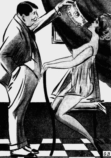 """Praca czy poniżenie? Prostytutka i jej klient według """"Amorka"""" (1924). Ilustracja i podpis pochodzą z książki Kamila Janickiego """"Epoka hipokryzji. Seks i erotyka w przedwojennej Polsce""""."""