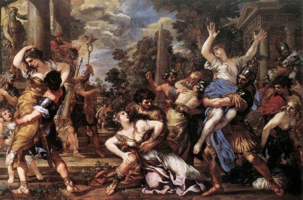 Porwanie Sabinek to jeden z rzymskich mitów założycielskich (tu na obrazie Pietra da Cortony).