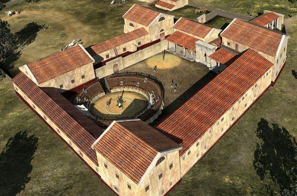 Komputerowa rekonstrukcja szkoły gladiatorów w Carnuntum (rys. LBI ArchPro, CC BY-SA 2.5).
