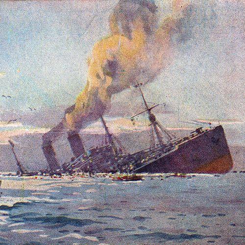 Takie są skutki goszczenia U-boota (pocztówka Williego Stöwera z 1917 r.).
