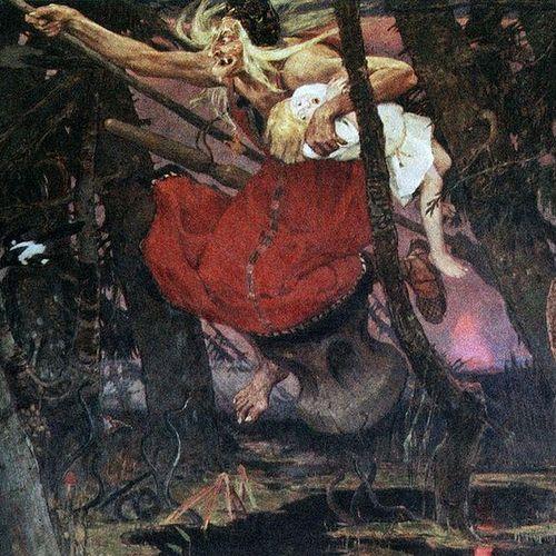 Baba Jaga według Wiktora Wasniecowa. Obraz powstał w 1917 r., 5 lat po zdemaskowaniu bohaterki artykułu (źródło: domena publiczna).