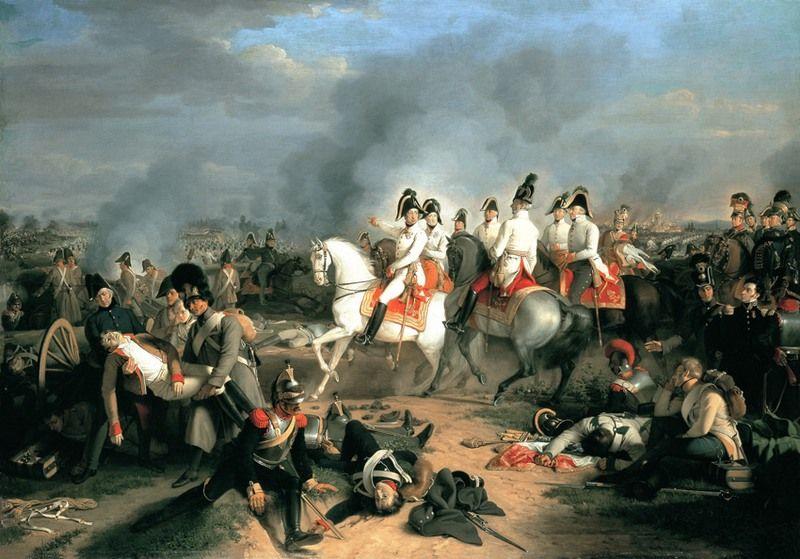 Arcyksiążę Karol ze swoim sztabem w czasie bitwy pod Essling (źródło: domena publiczna).