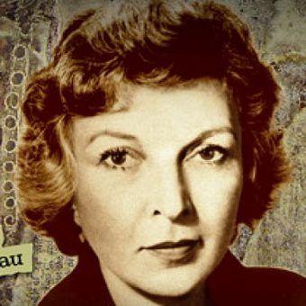 """Wytrwałość Marthy przyniosła jej olbrzymią sławę (fragment znaczka z serii """"Amerykańscy Dziennikarze"""")."""