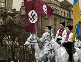 Parada w Stanisławowie (dziś Iwano-Frankiwsk) na cześć Hansa Franka, październik 1941 r. (fot. domena publiczna; koloryzacja RK).