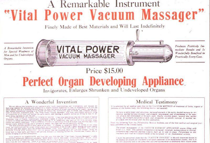 Międzywojenna reklama urządzenia do leczenia problemów z potencją (źródło: domena publiczna).