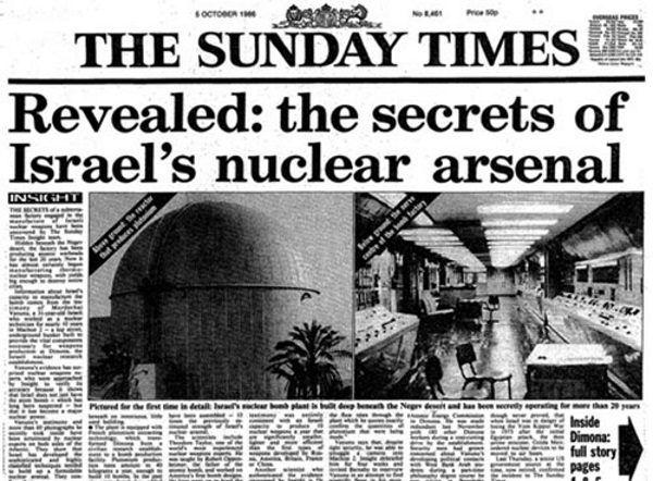 Informacje o izraelskim programie badań jądrowych wyciekły do prasy za sprawą Mordechaja Vanunu.