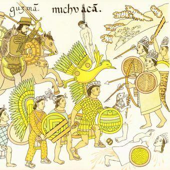 Zwycięstwo Cortésa nie byłoby możliwe bez wsparcia miejscowych Indian. Na ilustracji Tlaxcalanie i Hiszpanie walczą z Aztekami (trzymają charakterystyczne płaskie maczugi).