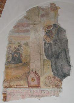 Śmierć Brunona z Kwerfurtu na fresku z opactwa z opactwa Św. Krzyż na Łysej Górze (fot. Goku122, CC BY-SA 3.0).