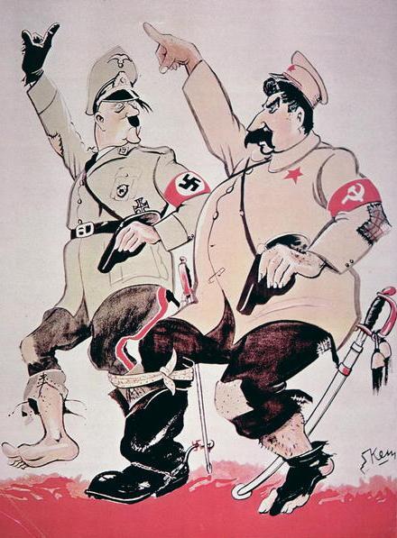 """Trudno nie zgodzić się z Rogerem Moorhouse'em, który stwierdza, że """"cynizm, brutalna Realpolitik i zepsucie moralne widoczne w tym pakcie były charakterystyczne dla zachowania i myślenia Hitlera i Stalina"""" (źródło: domena publiczna)."""