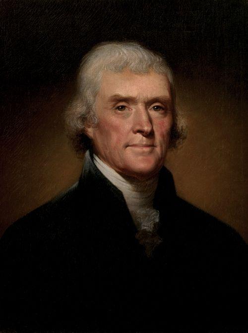 Prezydent Thomas Jefferson. To on uznał, że piratom nie należy płacić, tylko z nimi walczyć (portret autorstwa Rembrandta Peale'a; źródło: domena publiczna).