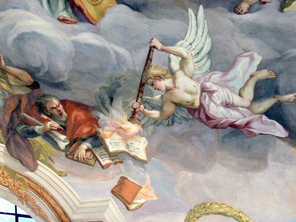 Alegoria wiary: anioł podpala heretyckie pisma Marcina Lutra. Fresk Johanna Michaela Rottmayra w kościele św. Karola Boromeusza w Wiedniu (il. domena publiczna).