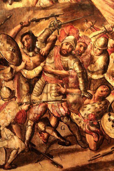 W czasie oblężenia Tenochtitlan Cortés został ranny i niemal schwytany przez Azteków (il. domena publiczna).