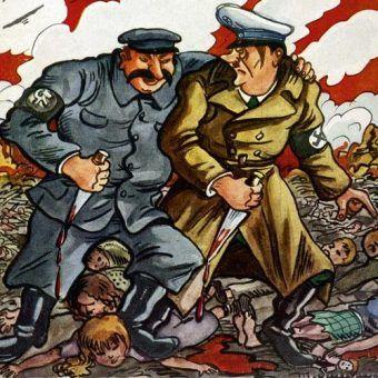 Efektem paktu Hitler-Stalin była śmierć milionów niewinnych ludzi. Na ilustracji rysunek z października 1939 roku, doskonale oddający istotę tego porozumienia (źródło: domena publiczna).