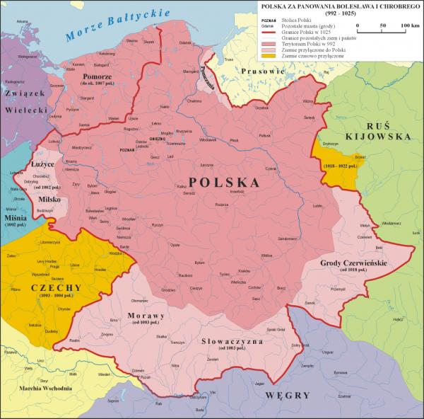 Polska za panowania Bolesława Chrobrego. Na pomarańczowo zaznaczono Czechy przejściowo opanowane przez polskiego władcę (rys. Poznaniak, CC BY-SA 3.0.