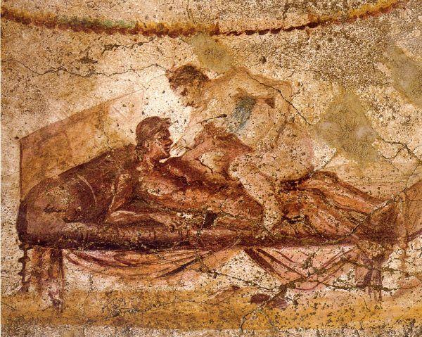 Pozycja jeśli nie ulubiona, to najczęściej przedstawiana przez Rzymian w sztuce. Tutaj na ścianie lupanaru w Pompejach (il. domena publiczna).